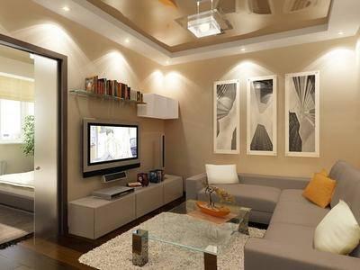 Подбираем освещение в гостиной с натяжными потолками: 5 основных моментов